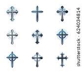 crosses of christianity emblems ... | Shutterstock . vector #624034814