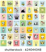 big set of vector kid's cards... | Shutterstock .eps vector #624044348