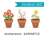 flower pot with different... | Shutterstock .eps vector #624048713