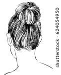 hairstyles back view women with ... | Shutterstock .eps vector #624054950