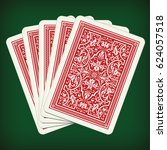 five closed playing cards  ... | Shutterstock .eps vector #624057518