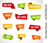 vector stickers  price tag ... | Shutterstock .eps vector #624058220