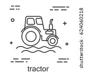 tractor in a linear style. line ...