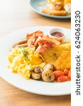 english breakfast with egg... | Shutterstock . vector #624063230