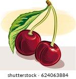 cherries on white background. | Shutterstock .eps vector #624063884