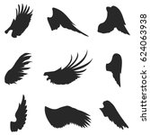 wings vector icons set. wing... | Shutterstock .eps vector #624063938
