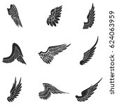 wings vector icons set. wing... | Shutterstock .eps vector #624063959