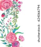 watercolor beautiful floral... | Shutterstock . vector #624066794