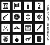 pirate icons set in white... | Shutterstock .eps vector #624067898