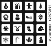 christmas icons set in white... | Shutterstock .eps vector #624073994