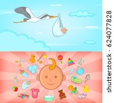 baby born banner set horizontal ...   Shutterstock .eps vector #624077828