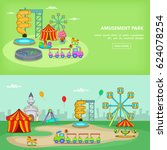 amusement park banner set... | Shutterstock .eps vector #624078254