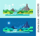 summer landscape  day and night.... | Shutterstock .eps vector #624082190