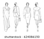 sketch. fashion girls on a... | Shutterstock .eps vector #624086150