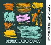 set of nine trendy brush... | Shutterstock .eps vector #624092183