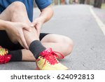 shin bone injury from running ... | Shutterstock . vector #624092813