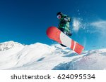 snowboarder is jumping with... | Shutterstock . vector #624095534