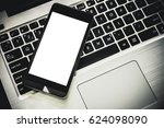 smartphone with blank screen on ... | Shutterstock . vector #624098090