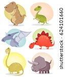 cartoon dinosaur collection ... | Shutterstock .eps vector #624101660
