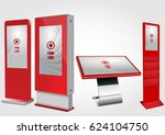 set of red promotional... | Shutterstock .eps vector #624104750