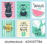 set of sex summer templates...   Shutterstock .eps vector #624107786