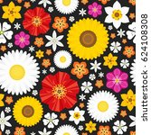 summer seamless pattern with... | Shutterstock .eps vector #624108308