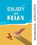 summer seaside landscape. blue...   Shutterstock .eps vector #624111914