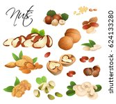 assorted different nuts on... | Shutterstock .eps vector #624133280