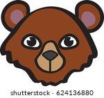 brown bear face icon   vector...