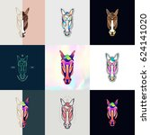 Stock vector set of horse logos abstract design thin line icons patches badges labels and stickers vector 624141020