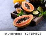 papaya fruit  sweet ripe fresh... | Shutterstock . vector #624154523