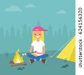 camping in forest. young female ... | Shutterstock .eps vector #624156320