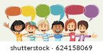 cartoon children talking with... | Shutterstock .eps vector #624158069