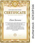 certificate blank template with ... | Shutterstock .eps vector #624169166