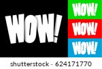origami cut wow lettering... | Shutterstock .eps vector #624171770