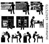 man   person purchasing... | Shutterstock .eps vector #624171773
