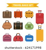 travel bags icon set  flat... | Shutterstock .eps vector #624171998