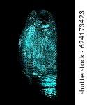 fingerprint on black background.... | Shutterstock . vector #624173423