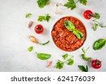 basic italian tomato sauce... | Shutterstock . vector #624176039