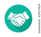 handshake flat design long... | Shutterstock .eps vector #624179624