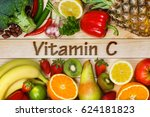 vitamin c in fruits and... | Shutterstock . vector #624181823