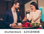 making proposal in a cafe with... | Shutterstock . vector #624184808