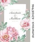 pink peonies wedding invitation.... | Shutterstock . vector #624187946