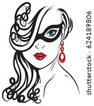 stylish graphic portrait of a... | Shutterstock .eps vector #624189806