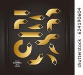 set of 3d golden arrow... | Shutterstock .eps vector #624190604