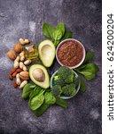 vegan fat sources  flax ... | Shutterstock . vector #624200204