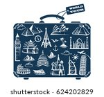leather suitcase image with... | Shutterstock .eps vector #624202829