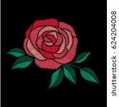 red rose embroidery on black... | Shutterstock .eps vector #624204008