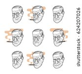 vector set cartoon caricature... | Shutterstock .eps vector #624207026