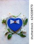 Blue Gift Box In Shape Of Hear...